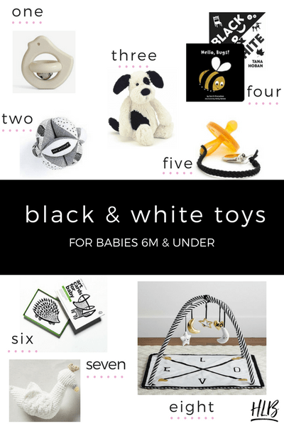 Black & white toys for babies six months and under. Wood toys, soft toys, rattles, board books, and even a fun activity gym!