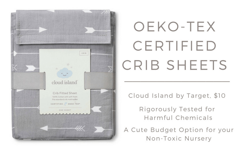 Looking for neutral crib sheets on a budget? These Oeko-Tex certified crib sheets from the new Cloud Island line at Target is perfect for your non-toxic nursery!
