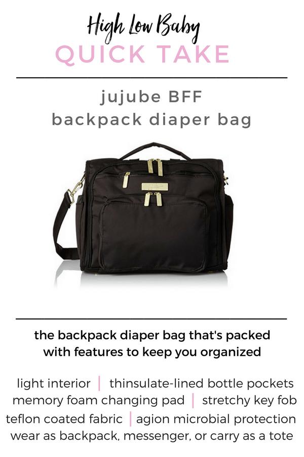 Ju Ju Be BFF backpack diaper bag review | stylish backpack diaper bag | best backpack diaper bag