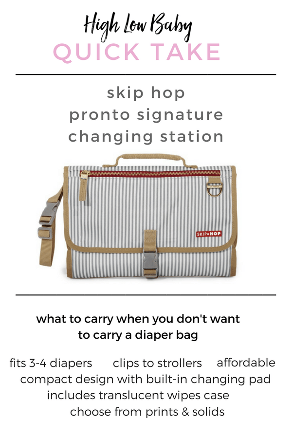 My review of the Skip Hop Pronto Signature Changing Station, a compact diaper clutch ideal for parents who don't want to carry a traditional diaper bag.