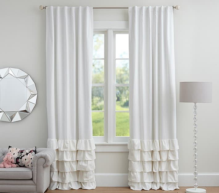 Ruffled Linen Curtains | How To Save at Pottery Barn Kids | High Low Baby