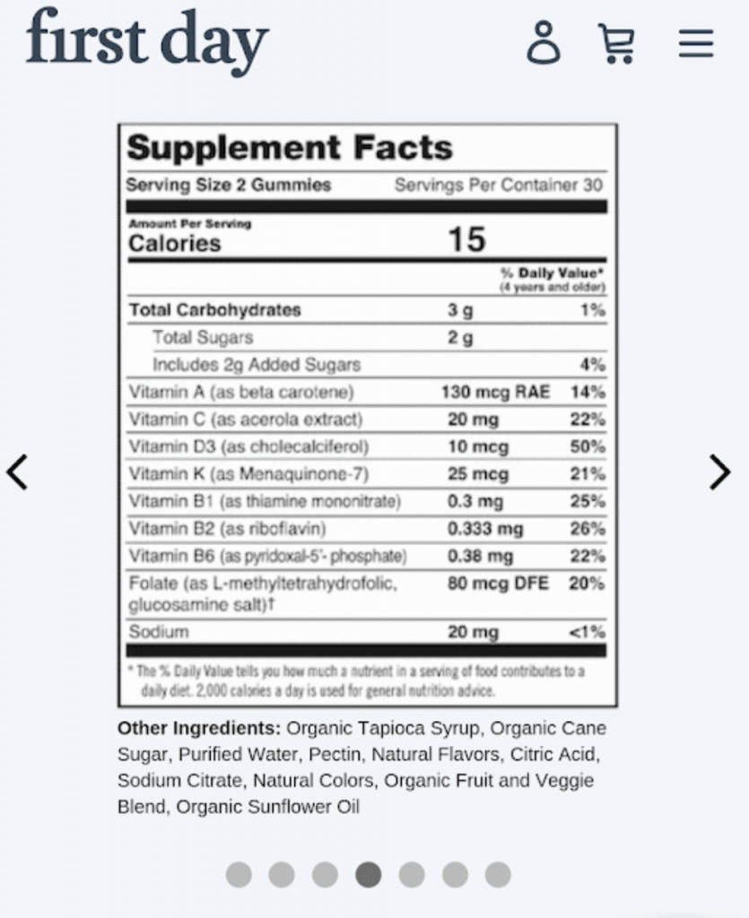 First Day ingredients label